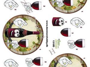 13180 Dan Design 3D 1 ark rødvin i flaske og glas -0