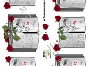 13202 Dan Design 3D 1 ark Salmebog Med Røde Roser-0