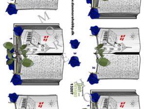 13207 Dan Design 3D 1 ark Salmebog Med Blå Roser-0