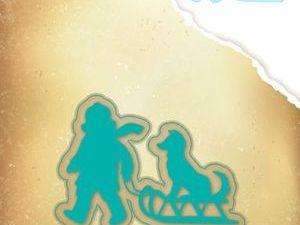 VIND052 Nellie Snellen Die Vintasia Christmas Barn med Hund På Kælk-0