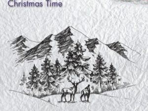CT018 Nellie Snellen Clearstamps Christmas Time Winter Landscape with deer-0