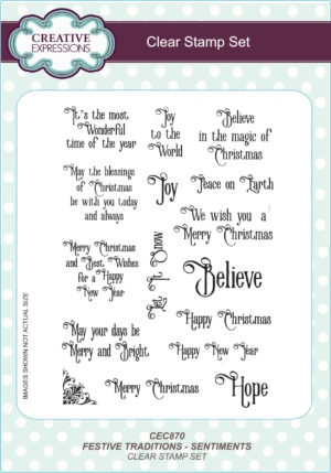 CEC870 Creative Expressions Clearstamp Set Festive Traditions Sentiments-0