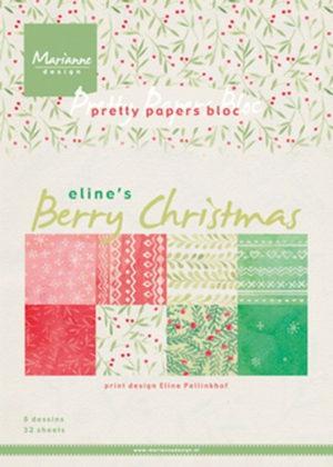 PB7053 Marianne Design Papirsblok A5 Berry Christmas-0