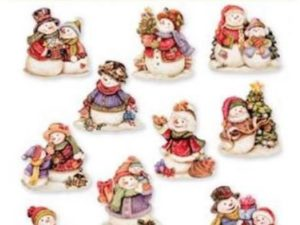 HC8756 Easy 3D Toppers Udstansede Med Glitter Guld, Christmas Snowmen-0