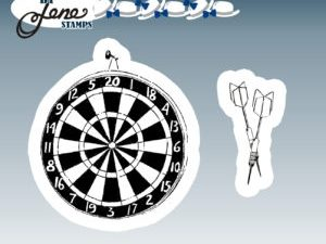 BLS1014 By Lene stempel Dartboard & Arrows-0