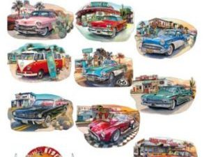 HC10471 Hearty Crafts Easy 3D Toppers, Vintage Cars-5623