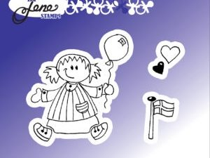 BLS1030 By Lene stempel, Girl with balloon-0