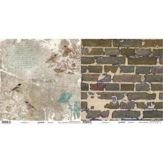 "WL281213 Riddersholm Design papir ""Woodlands-Blue Bird"" -0"