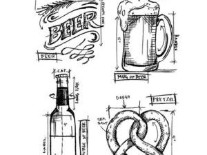 """CMS334 Stampers Anonymous Tim Holtz """"Beer Blueprint""""-0"""