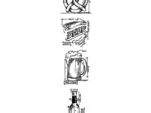 """THMB029 Tim Holtz Stampers Anonymous Cling Stamp """"Beer Blueprints Strip""""-0"""
