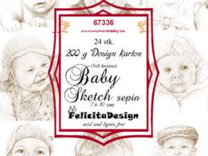 67336 Felicita Design Toppers 7 x 10 cm, Baby Sketch, Sepia-0