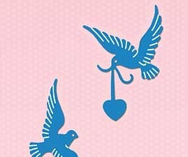 SDB038 Nellie Snellen Die Shape Die Blue - Love Birds-0
