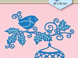 SDB064 Nellie Snellen Die Shape Die Blue Hollybranch & Bauble & Bird -0
