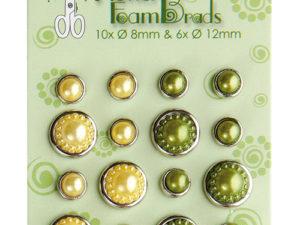 72.4841 Leane Creatief Leane Flower Foam Pearl Brads Yellow & Green-0