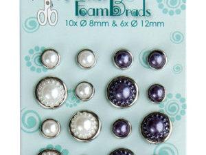72.4827 Leane Creatief Leane Flower Foam Pearl Brads White & Grey-0