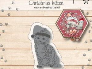 6002/1150 JOY Die Cut/emb Franciens Christmas Kitten-0