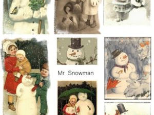KP0013 Reprint klippeark Billeder 1 ark Mr. Snowman-0