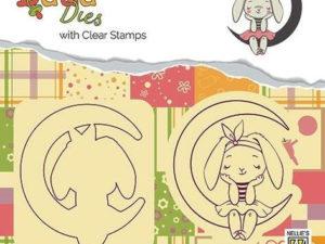 DDCS001 Nellie Snellen Die/Clearstamp Dada Design Bunny On Moon-0