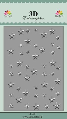 EFL001 Dixi Craft Embossingfolder 3D, Stars-1-0