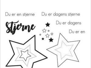 """SBC025 Simple and Basic Stempel """"Dansk Tekst"""" Du er en stjerne-0"""