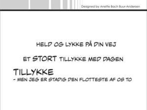 """SBC033 Simple and Basic Stempel """"Dansk Tekst"""" Held og lykke ...-0"""