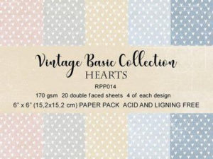 RPP014 Reprint papir 15x15, Vintage Basic Collection - Hearts-0