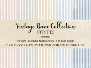 RPP016 Reprint papir 15x15, Vintage Basic Collection - Stripes-0