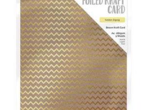 9340E Tonic Studios Foiled Kraft Card, Brown Kraft Card, Golden ZigZag-0