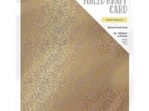 9341E Tonic Studios Foiled Kraft Card, Brown Kraft Card, Golden Blossom-0