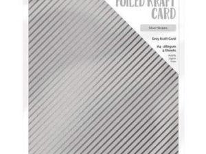 9342E Tonic Studios Foiled Kraft Card, Grey Kraft Card, Silver Stripe-0