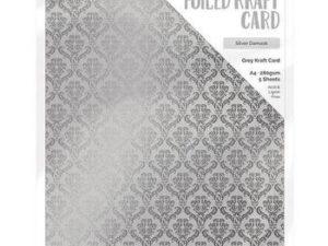 9343E Tonic Studios Foiled Kraft Card, Grey Kraft Card, Silver Damask-0