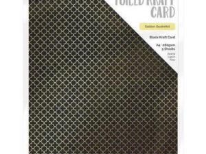 9345E Tonic Studios Foiled Kraft Card, Black Kraft Card, Golden Quarterfoil-0