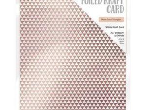 9347E Tonic Studios Foiled Kraft Card, White Kraft Card, Rose Gold Triangles-0