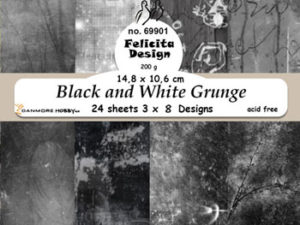 69901 Felicita Design Papirsblok A6 Black and White Grunge-0