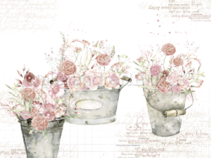 10.1247 Alexandra Renke Designpaper 30x30, Rose Flowers In Buckets International-0