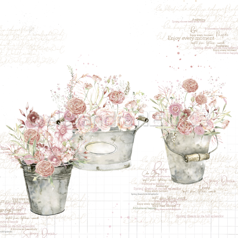 10.1247 Alexandra Renke Designpaper 30x30, Rose Flowers In Buckets International-0