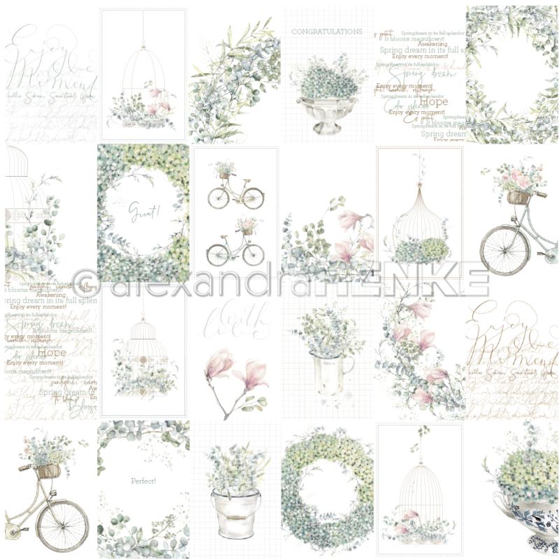 10.1297 Alexandra Renke Designpaper 30x30, Card Sheet Blue Flower Arrangements International-0