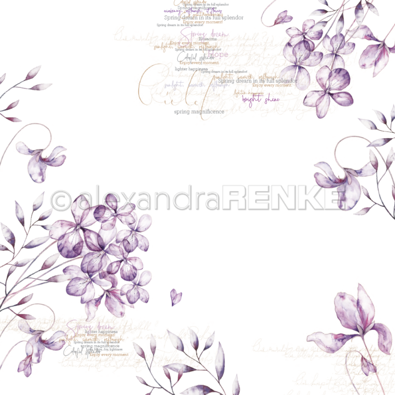 10.1318 Alexandra Renke Designpaper 30x30, Violet Blossoms-0