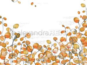 10.703 Alexandra Renke Designpaper 30x30, Orange Leaves Typo-0