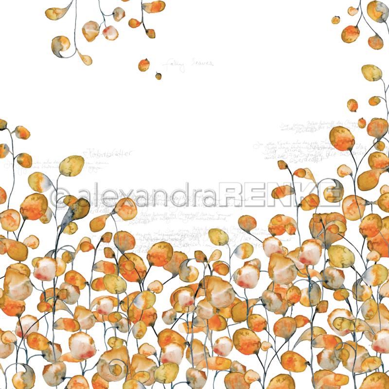 10.703 Alexandra Renke Designpaper 30x30, Orange Leaves Typo-0