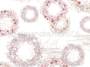 10.1217 Alexandra Renke Designpaper 30x30, Rose Colors Wreaths-0