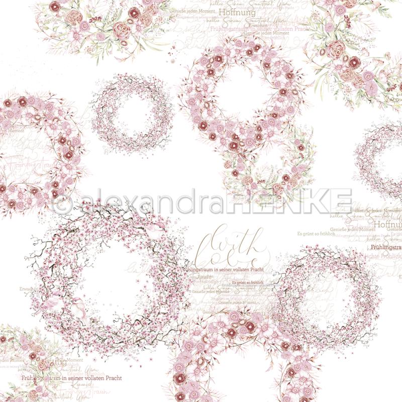 10.1217 Alexandra Renke Designpaper 30x30, Rose Colors Wreaths-0