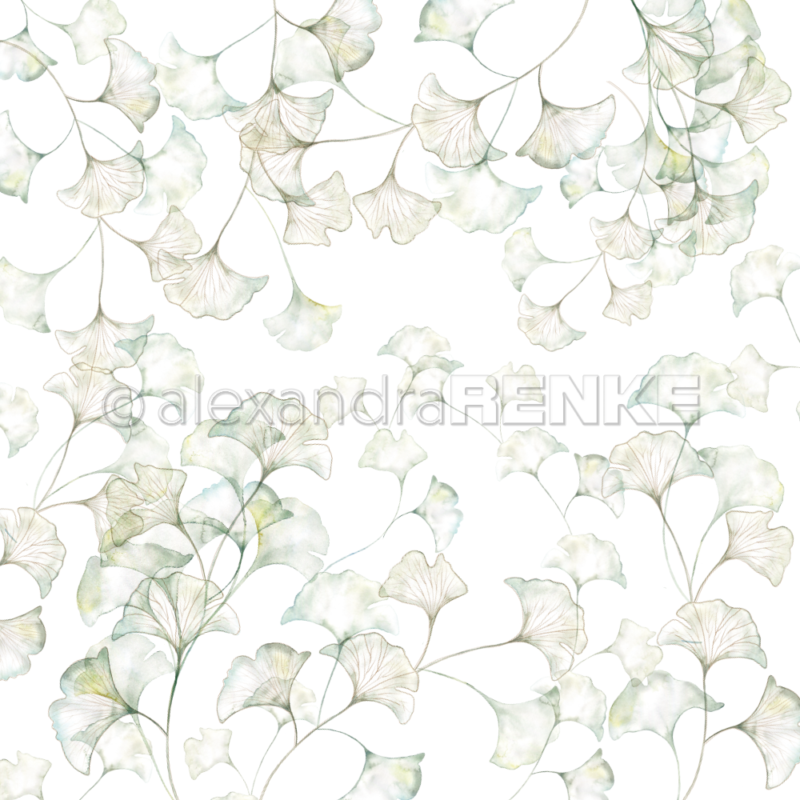 10.1311 Alexandra Renke Designpaper 30x30, Ginkgo Leaves-0
