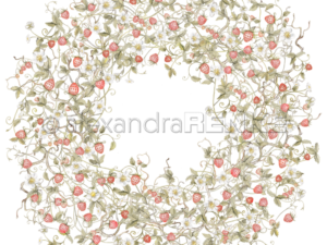 10.1344 Alexandra Renke Designpaper 30x30, Wild strawberries wreath-0