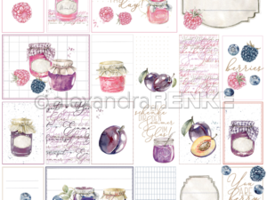 10.1347 Alexandra Renke Designpaper 30x30, Card sheet rose/purple jam-0