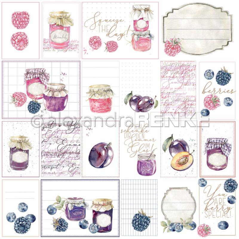 10.1347 Alexandra Renke Designpaper 30x30, Card sheet rose/purple jam-0