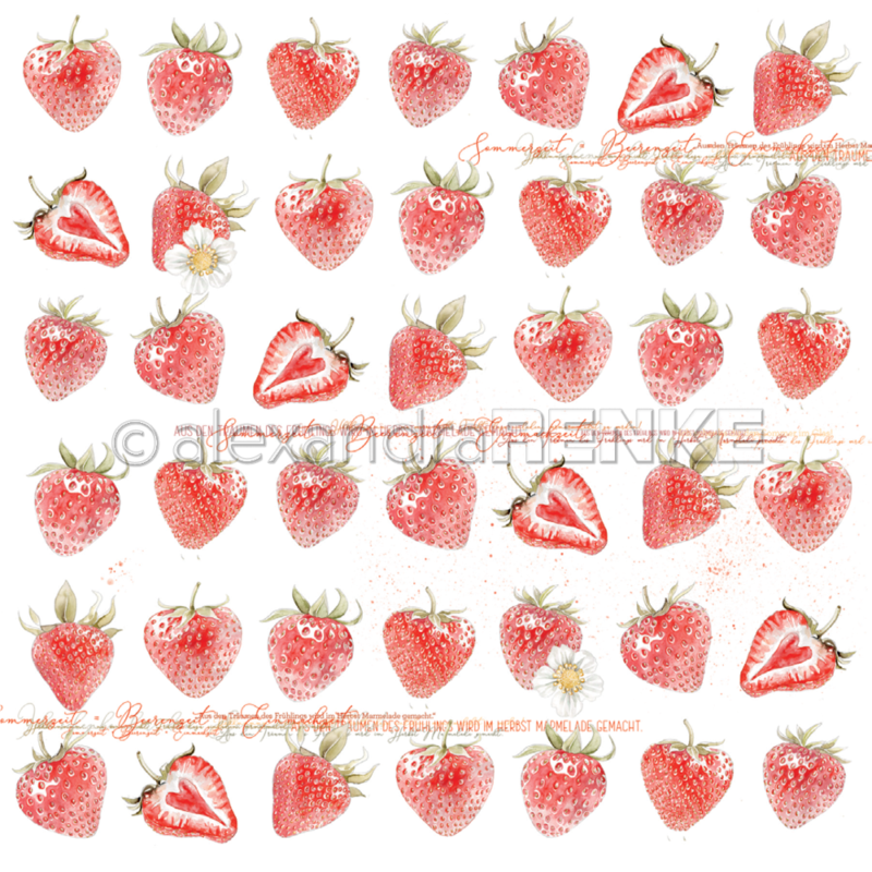 10.1352 Alexandra Renke Designpaper 30x30, Strawberries-0