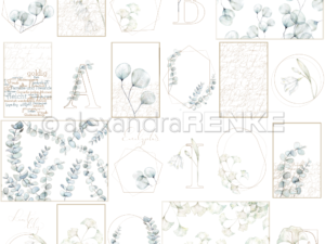 10.1320 Alexandra Renke Designpaper 30x30, Card sheet blue flower geometry-0