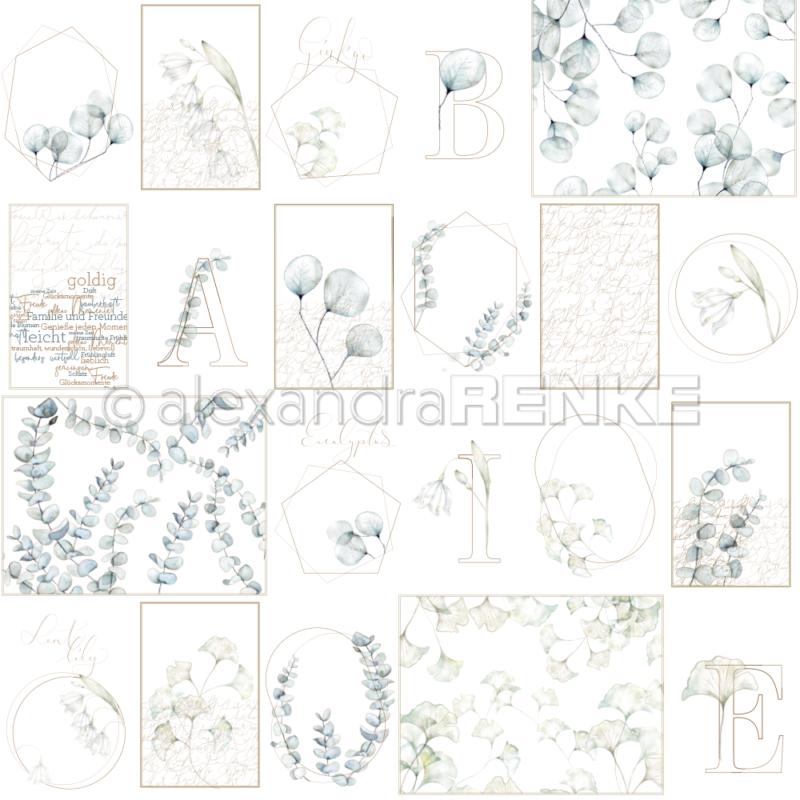 10.1320 Alexandra Renke Designpaper 30x30, Card sheet blue flower geometry-0