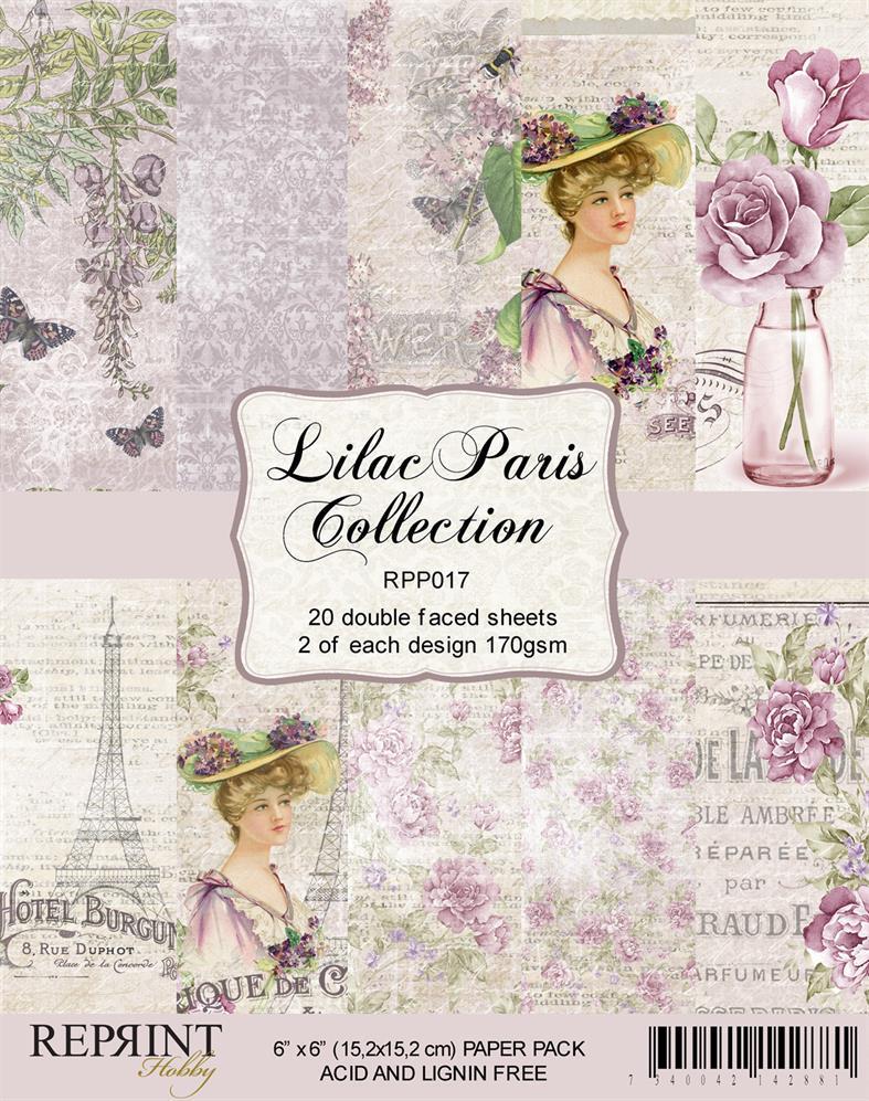 RPP017 Reprint papir 15x15, Lilac Paris Collection -0